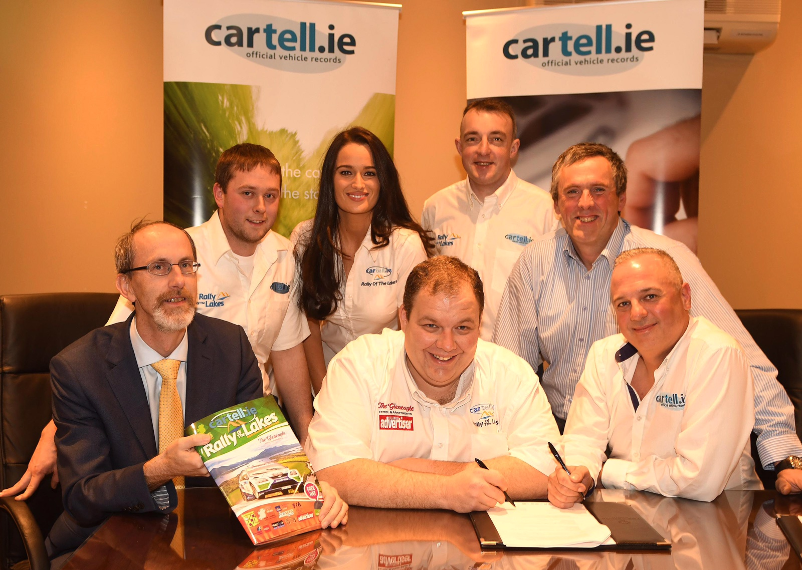 Derek Lee, Gleneagle Hotel, Anthony O'Connor, Clerk of the Course, and Richie Lahiff ,cartell.ie, seated with Adrian Cronin, Mags Milner, Johnny Hickey and Diarmuid Cronin, (Killarney and District Motor Club Chairman) at the signing of a sponsorship contract extension forthe cartell.ie International Rally of the Lakes. Picture: Eamonn Keogh (
