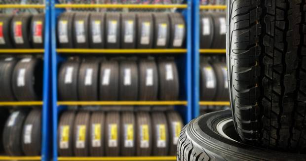 Tyre's in Warehouse with Labels